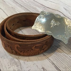 CHAMBERS Hand Tooled Leather Snake Scorpion Belt